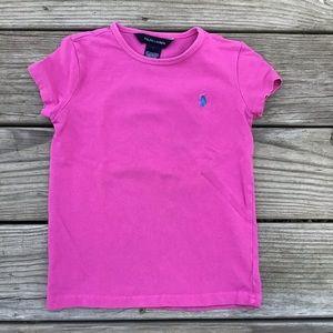 💚5/$20💚Ralph Lauren Pink Tee with Blue Logo